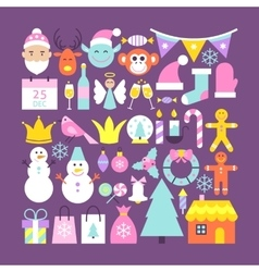 Cute Merry Christmas Objects vector image