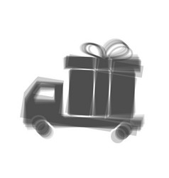 Delivery gift sign gray icon shaked at vector