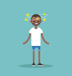 dizziness conceptual young black man with stars vector image vector image
