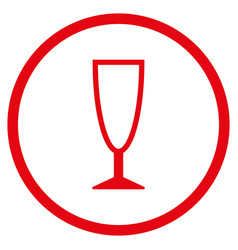 Empty wine glass rounded icon vector
