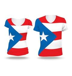 Flag shirt design of puerto rico vector