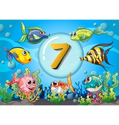 Flashcard number seven wit 7 fish underwater vector image vector image