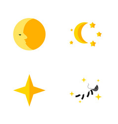 Flat icon bedtime set of lunar bedtime star and vector