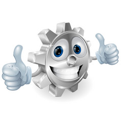 gear giving thumbs up cartoon character vector image vector image