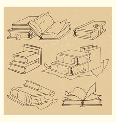hand drawn books sketch grunge icons set vector image