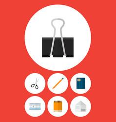 icon flat stationery set of pushpin notebook vector image