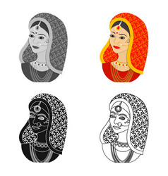 indian woman icon in cartoon style isolated on vector image
