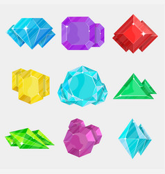 jewelry colorful gemstone icon set vector image