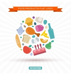 Logo of food and products in the new flat style vector image