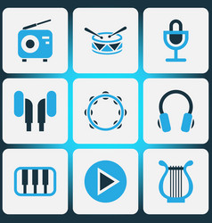 Music colored icons set collection of drum piano vector