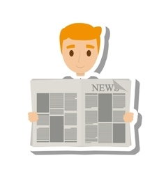 person reading the newspaper vector image