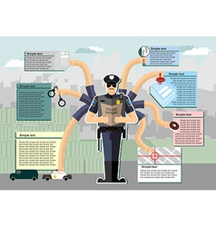 Police infographic police at work working time vector