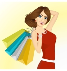 smiling young woman with shopping bags vector image vector image