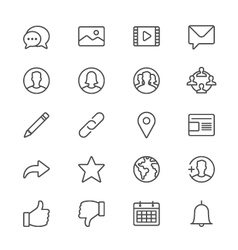 Social network thin icons vector