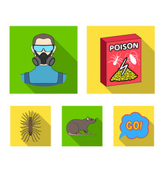 Staff packing with poison and pests flat icons in vector
