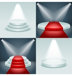 Stage podium set award ceremony illuminated 3d vector image