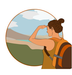 Young woman walking alone on a mountain trail vector