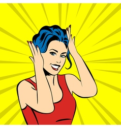 pop art surprised woman face with smile vector image