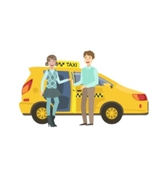 Young couple entering yellow taxi car vector
