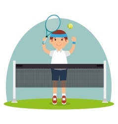 Guy player tennis court racket vector
