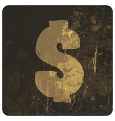 dollar sign grunge icon vector image