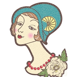 Vintage nice woman in a hat isolated on whit vector image