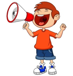 Cartoon boy yelling and shouting into a megaphone vector