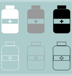 Jar with pill white grey black icon vector