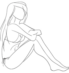 Sitting girl vector