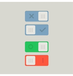 Toggle switch on and off position button vector
