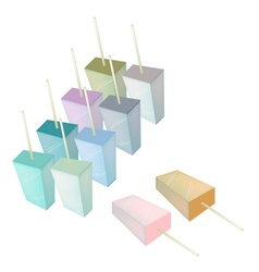 Row of various flavored popsicle ice creams vector
