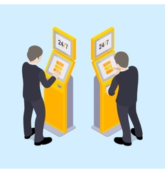 Man in black suit near the payment terminal vector