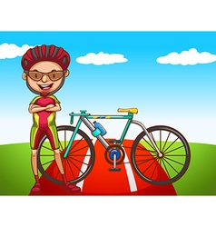 Cyclist and his bicycle vector