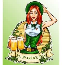 St patricks day label with pretty irish girl vector