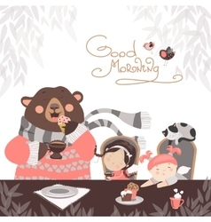 Girls drinking tea with a cute bear vector