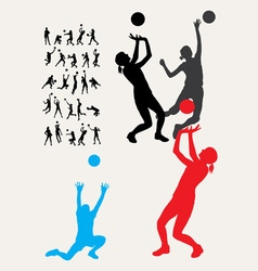 Volleyball silhouettes vector