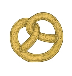 Hand drawn sketchy style colorful pretzel vector