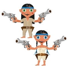 Modern indians with guns man and woman vector