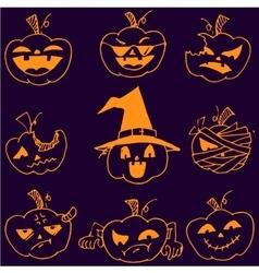 Doodle pumpkins halloween set vector