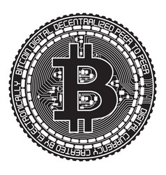 Bitcoin black and white vector