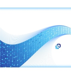 Blue wave - business card template vector