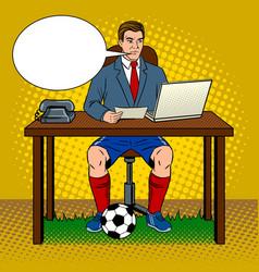 businessman soccer pop art vector image vector image