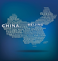 China map made with name of cities vector image