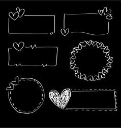 Doodle heart frames vector image vector image