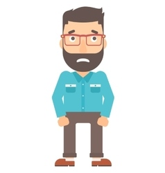 Embarrassed hipster man vector