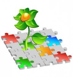 flower puzzle vector image vector image