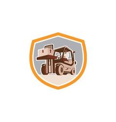Forklift Truck Materials Handling Logistics Shield vector image