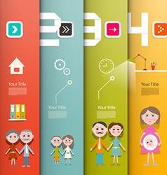 Four Steps Paper Retro UI Flat Design Infographics vector image vector image