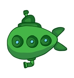 Green submarine underwater cartoon design vector