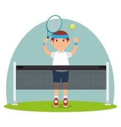 Guy player tennis court racket vector
